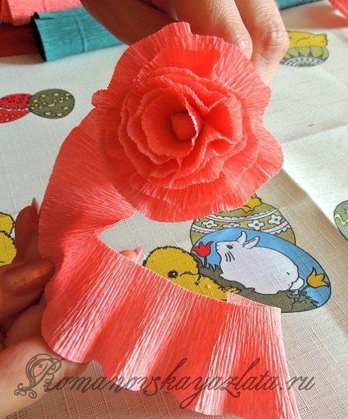 Цветы из креповой бумаги пошаговое фото легкие