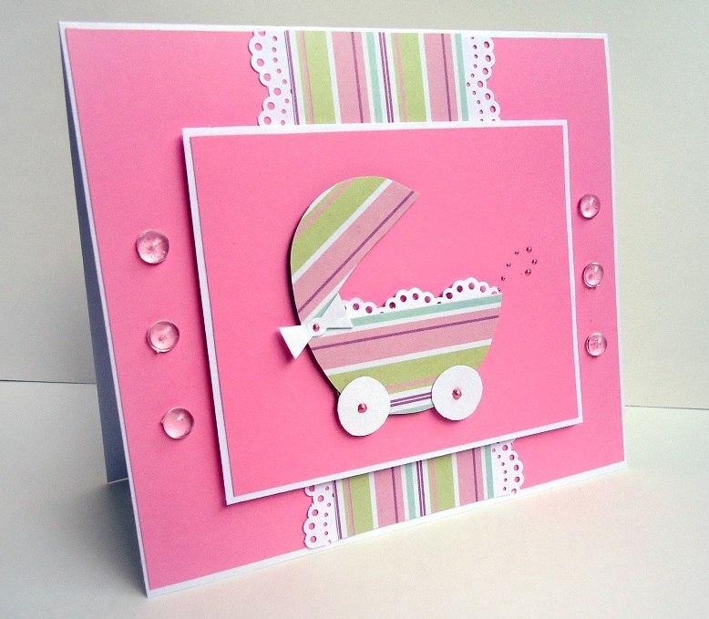 Как сделать открытку на рождение девочки