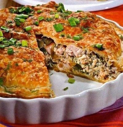 Быстрый куриный пирог.Приготовление:Смесь замороженных овощей (кукуруза, горошек, паприка, ...