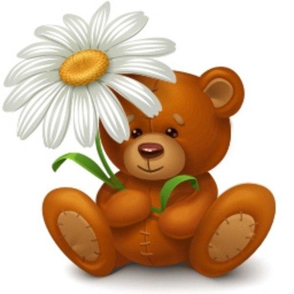 Мишка с цветами картинки для детей, открытки зарубежные