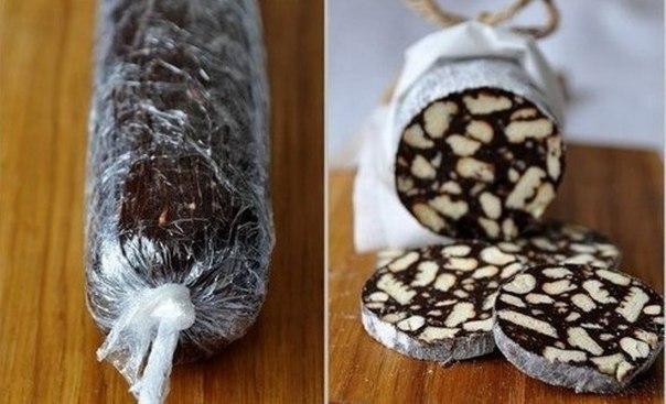 Шоколадное салями.Ингредиенты:* 2 пачки печенья* 100 г черного шоколада* 150 г слив. масла* 5 ст. ...