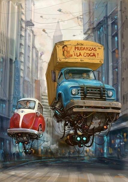 Идеальное сочетание ретро автомобили и технологии будущего в работах художника-иллюстратора ... - 4