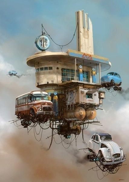 Идеальное сочетание ретро автомобили и технологии будущего в работах художника-иллюстратора ... - 3