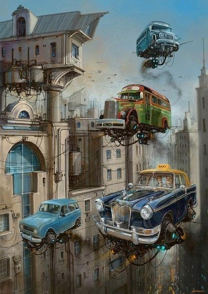 Идеальное сочетание ретро автомобили и технологии будущего в работах художника-иллюстратора ...