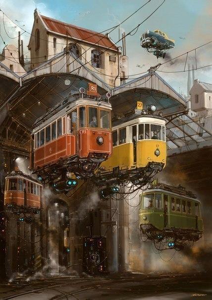 Идеальное сочетание ретро автомобили и технологии будущего в работах художника-иллюстратора ... - 2