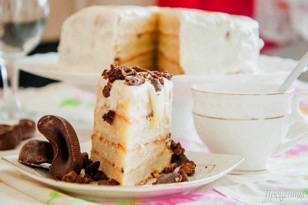 Сметанный торт.ИнгредиентыДля теста:Сметана — 400 г Сахар — 100 г Масло сливочное — 200 г Мука ...