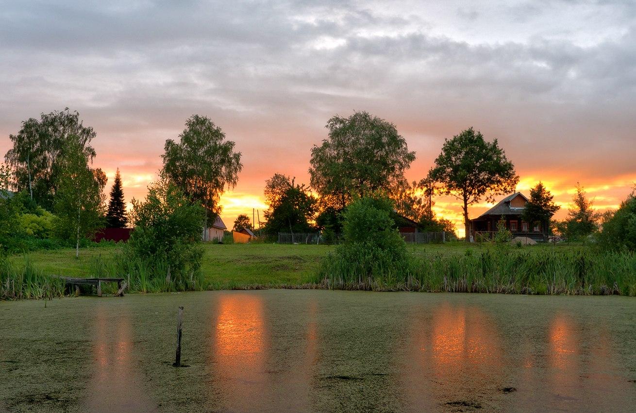 Картинки лето вечер деревня отпуск