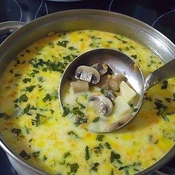 Самый вкусный грибной сливочный суп! Сочетание сливок, плавленого сыра и грибов — так вкусно, просто ...