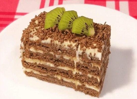 Торт без выпечки.           Ингредиенты:           печенье 24 шт + несколько ...